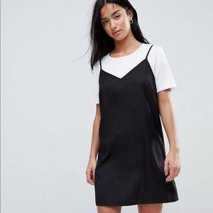 H&M Black silky cami slip dress